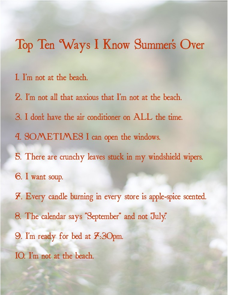 top ten ways i know summers over